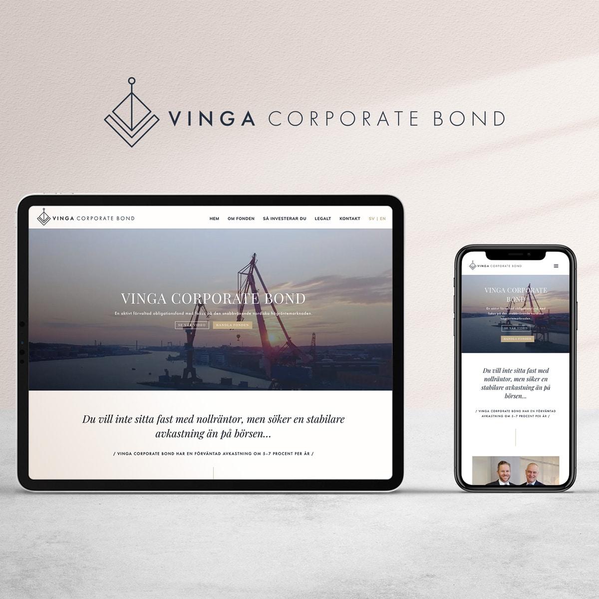 vinga corporate bond design ipad webb mobil mockup