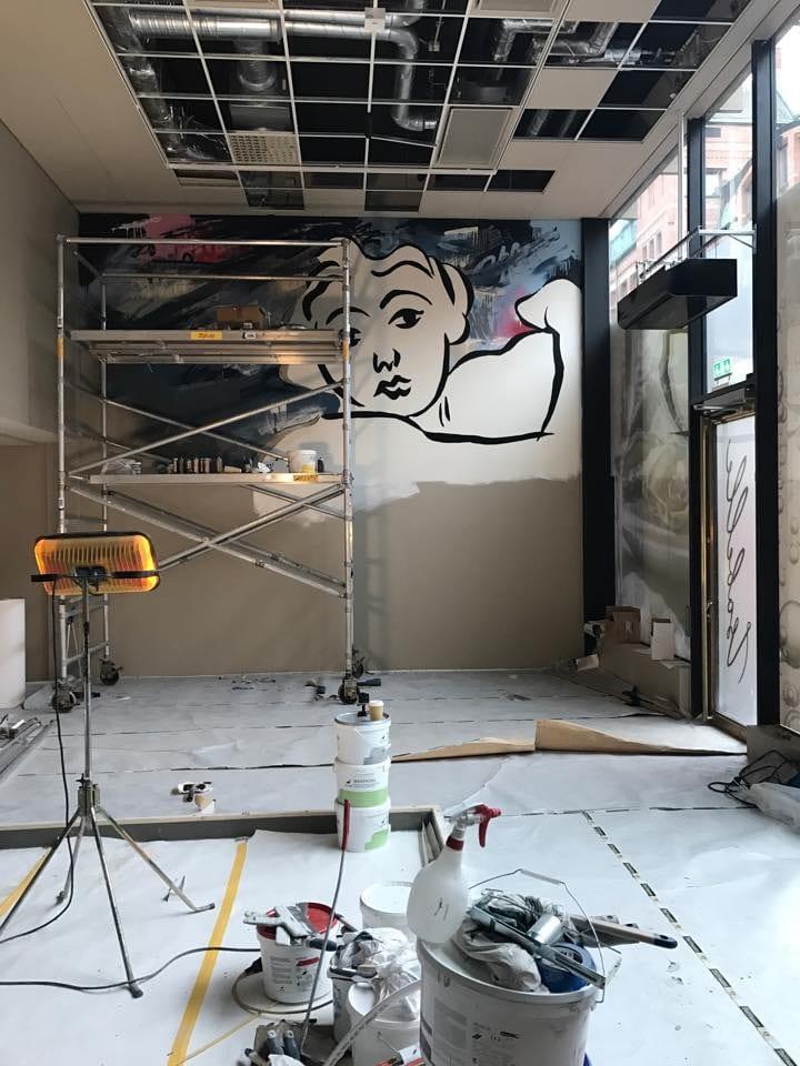 Isabelle Restaurang målning på vägg